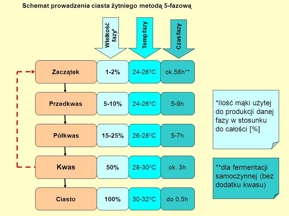 *Ilość mąki użytej do produkcji danej fazy w stosunku do całości [%]